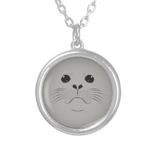 Seal face silhouette silver plated necklace