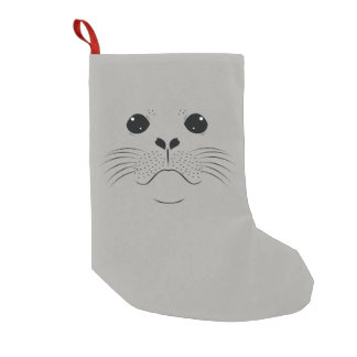 Seal face silhouette small christmas stocking