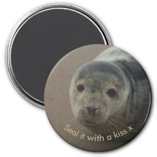 Seal it with a kiss cute baby grey seal 7.5 cm round magnet