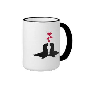 Seal love red hearts mug