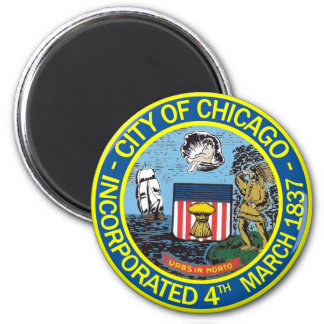 Seal of Chicago, Illinois 6 Cm Round Magnet