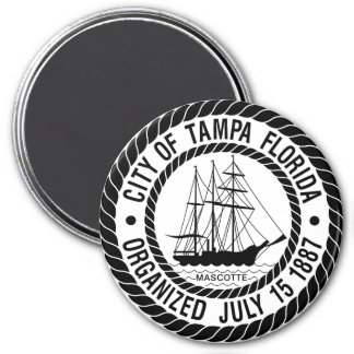 Seal of Tampa, Florida 3 Inch Round Magnet
