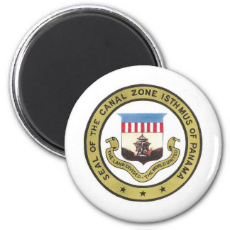 SEAL OF THE PANAMA CANAL ZONE 6 CM ROUND MAGNET