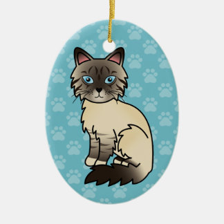 Seal Point Tabby Birman / Ragdoll Cat Ceramic Ornament