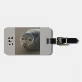 Seal the deal cute grey work trip baggage label luggage tag