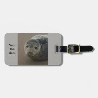 Seal the deal cute grey work trip baggage label luggage tag