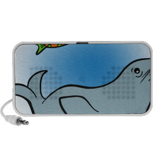 Seal With Fish Cartoon Characters Travelling Speaker