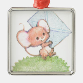 Sealed With A Kiss Mice Love Letter Silver-Colored Square Decoration