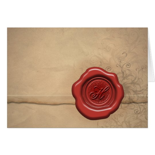Sealing wax monogram: Letter H Card