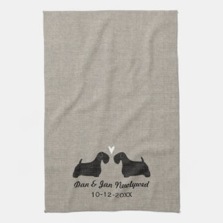 Sealyham Terrier Silhouettes with Heart and Text Tea Towel