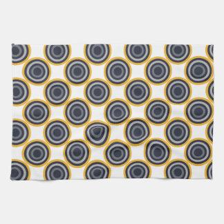 Seamless Abstract Navy Blue, Gray,Yellow Circles Tea Towel