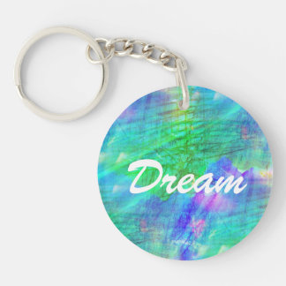 seamless art background watercolor blue, green Double-Sided round acrylic key ring