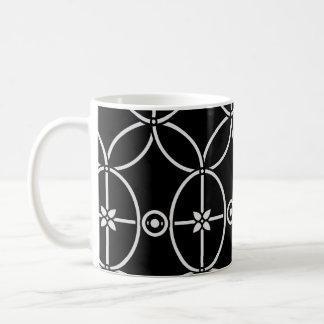 seamless black floral ornament basic white mug