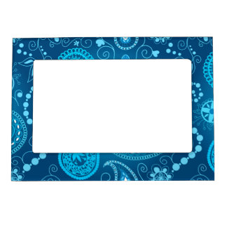 Seamless blue paisley pattern. Elegant style Photo Frame Magnet