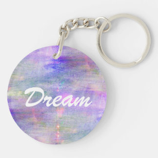 seamless blue, pink background yellow watercolor Double-Sided round acrylic key ring
