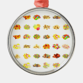 Seamless Candy and Candies Pattern Background Metal Ornament