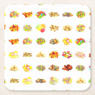 Seamless Candy and Candies Pattern Background Square Paper Coaster