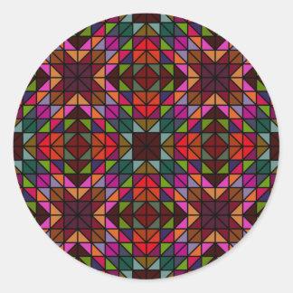 Seamless colorful triangle mosaic round sticker