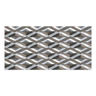 Seamless Diamond Shaped Chrome Plated Metal Photo Greeting Card