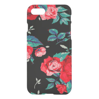 Seamless Floral Pattern With Red Roses Black iPhone 8/7 Case
