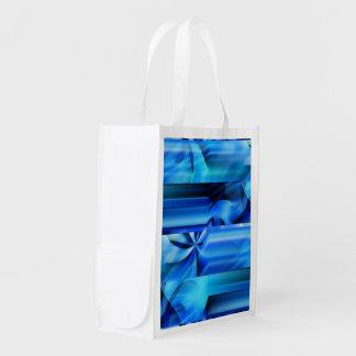 Seamless Graphic Design - blue black I Reusable Grocery Bag
