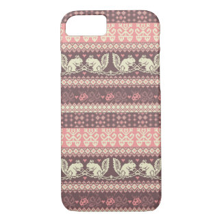 Seamless knitted pattern with squirrel iPhone 7 case