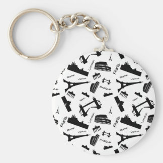Seamless landmarks background basic round button key ring