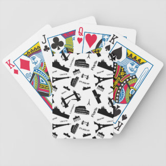 Seamless landmarks background bicycle playing cards