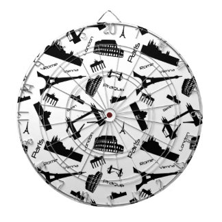 Seamless landmarks background dartboard
