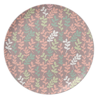 Seamless leaves pattern plate
