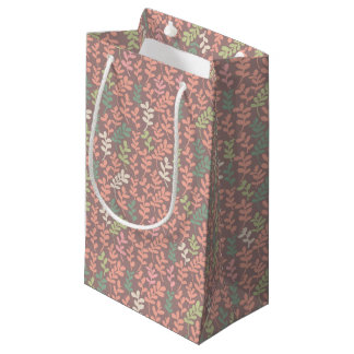 Seamless leaves pattern small gift bag