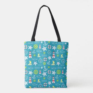 Seamless nautical pattern tote bag