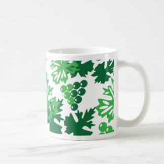 seamless pattern of leaves with grapes coffee mug