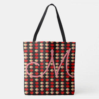 seamless pattern of reddish lips with initial tote bag