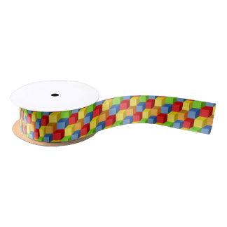 Seamless pattern with isometric cubes ribbon satin ribbon