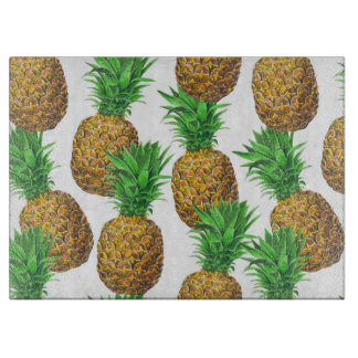 Seamless pattern with pineapples cutting board