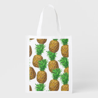 Seamless pattern with pineapples reusable grocery bag