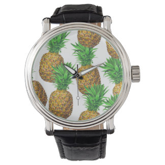 Seamless pattern with pineapples watch