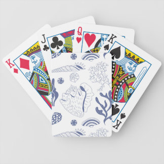 Seamless pattern with sea shells bicycle playing cards