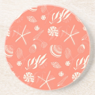 Seamless pattern with sea shells coasters