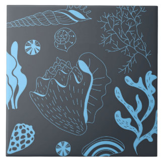 Seamless pattern with sea shells large square tile