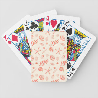 Seamless pattern with sea shells poker deck