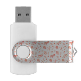 Seamless pattern with sea shells swivel USB 3.0 flash drive