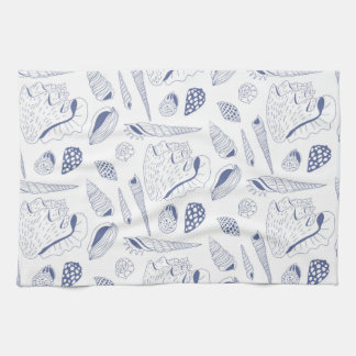 Seamless pattern with sea shells tea towel