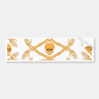 seamless pattern with skulls and bones of the hand bumper sticker