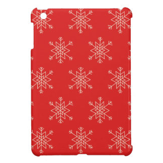 Seamless pattern with snowflakes. Red background. iPad Mini Case