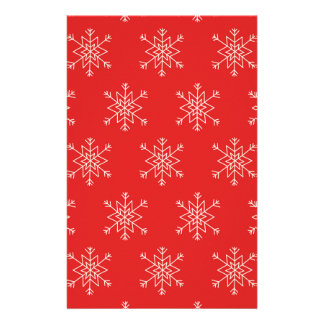 Seamless pattern with snowflakes. Red background. Stationery