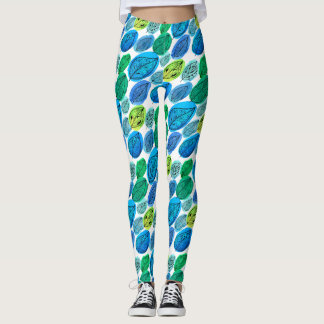 Seamless pattern with watercolor hand drawn leaves leggings