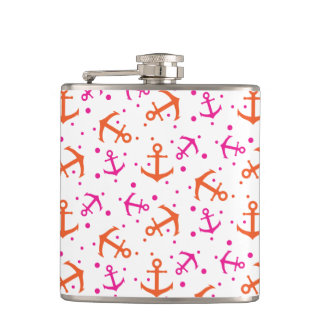 Seamless pink and orange anchor pattern. flask