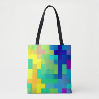 Seamless Pixel Background with Colorful Tote Bag